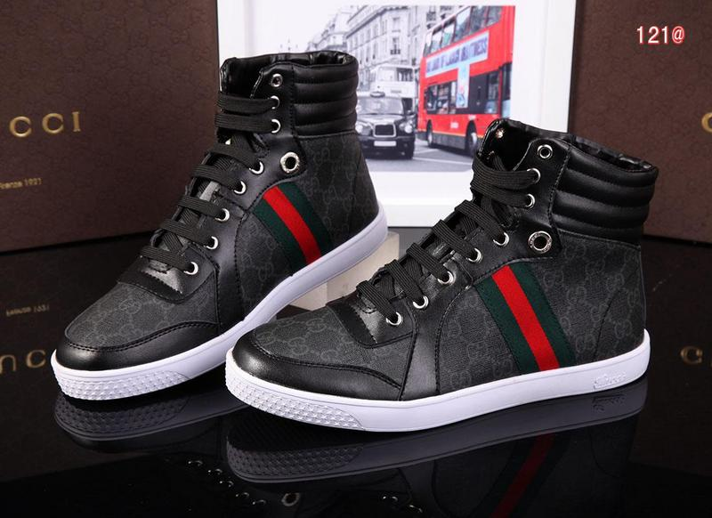 chaussure gucci haute,Baskets montantes en cuir Gucci Baskets Homme  221825ADFX09060 6bfd809f111